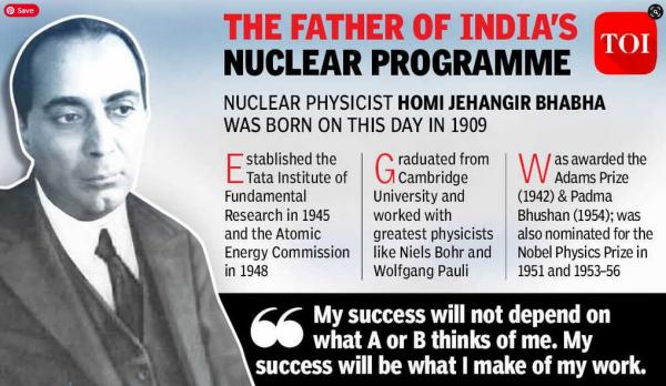 "Homi Jehangir Bhabha (30 October 1909 – 24 January 1966) was an Indian nuclear physicist, founding director, and professor of physics at the Tata Institute of Fundamental Research (TIFR). Colloquially known as ""father of the Indian nuclear programme"", Bhabha was also the founding director of the Atomic Energy Establishment, Trombay (AEET) which is now named the Bhabha Atomic Research Centre in his honour. TIFR and AEET were the cornerstone of Indian development of nuclear weapons which Bhabha also supervised as director.