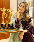Hina Khan Shines in Velvet Purple Suit    Actor Hina Khan in a series of pictures are flaunting her award win. Clad in a velvet wine-coloured dress...