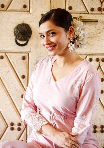 Ankita Lokhande Shines in Pastel Pink Ethnic Wear